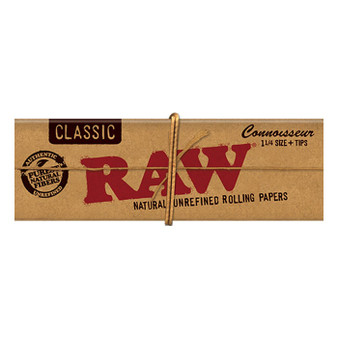 RAW Classic Connoisseur Papers 1-1/4'' 32 Leaves/Pack - Box of 24