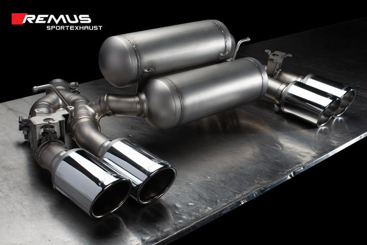 Remus Racing Rear Silencer Left/Right with Integrated valves using the OE valve control system with 4 tail pipes Ø 102 mm angled, rolled edge, chromed - 2 Series F87 M2 Competition 302 kW S55B30 2018-