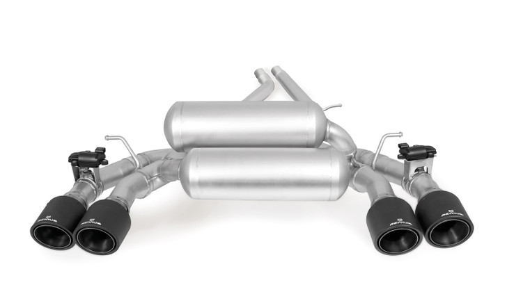 Remus Racing Rear Silencer Left/Right with Integrated valves using the OE valve control system with 4 Carbon tail pipes Ø 102 mm angled, Titanium internals - 2 Series F87 M2 Competition 302 kW S55B30 2018-
