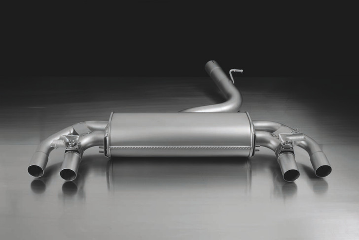 Remus Rear Silencer Left/Right with Integrated valves using the OE valve control system with 4 tail pipes Ø 102 mm angled, straight cut, chromed - Golf Mk7 Hatchback 2.0 R 221 kW CJX 2014-2016