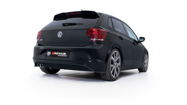 Remus Resonated GPF back System with 2 tail pipes Ø 84 mm angled, rolled edge, chromed - Polo AW 2.0 TSI GTI 147 kW DKZ 2019-