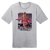 80's Vintage Honda CR500 Girls, DirtBikes & Pizza – Grey – 100% Ringspun Cotton T-Shirt