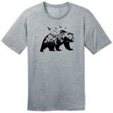 Mountain Bear – Grey – Ringspun Cotton T-Shirt