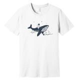 Whale Spaceman (Astronaut) – White – Ringspun Cotton T-Shirt