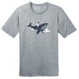 Whale Spaceman (Astronaut) – Grey – Ringspun Cotton T-Shirt