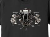 Diagram of an LS Turbo Uterus (Chevy, Perfect Woman) – Ringspun Cotton T-Shirt