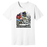 Dual Sport–Too Much Fun To Be Legal – White – 100% Ringspun Cotton T-Shirt