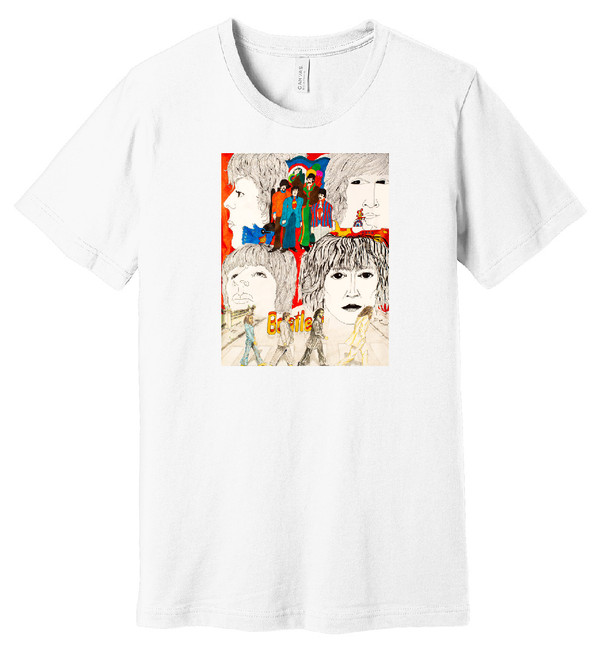 Beatles (White) – Hand Drawn Artwork - 100% Ringspun Cotton T-Shirt
