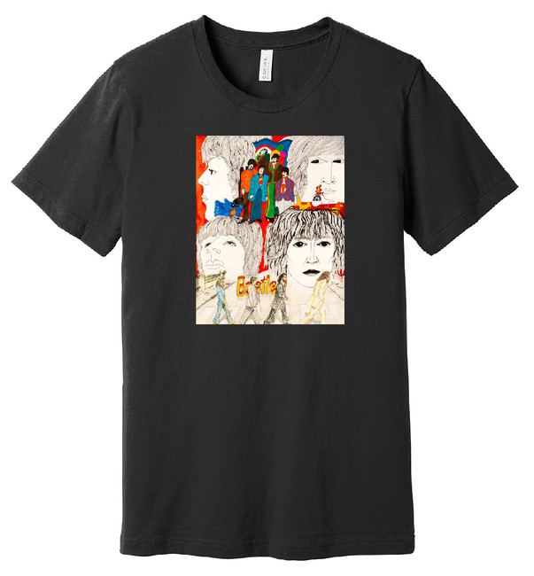 Beatles (Black) – Hand Drawn Artwork - 100% Ringspun Cotton T-Shirt