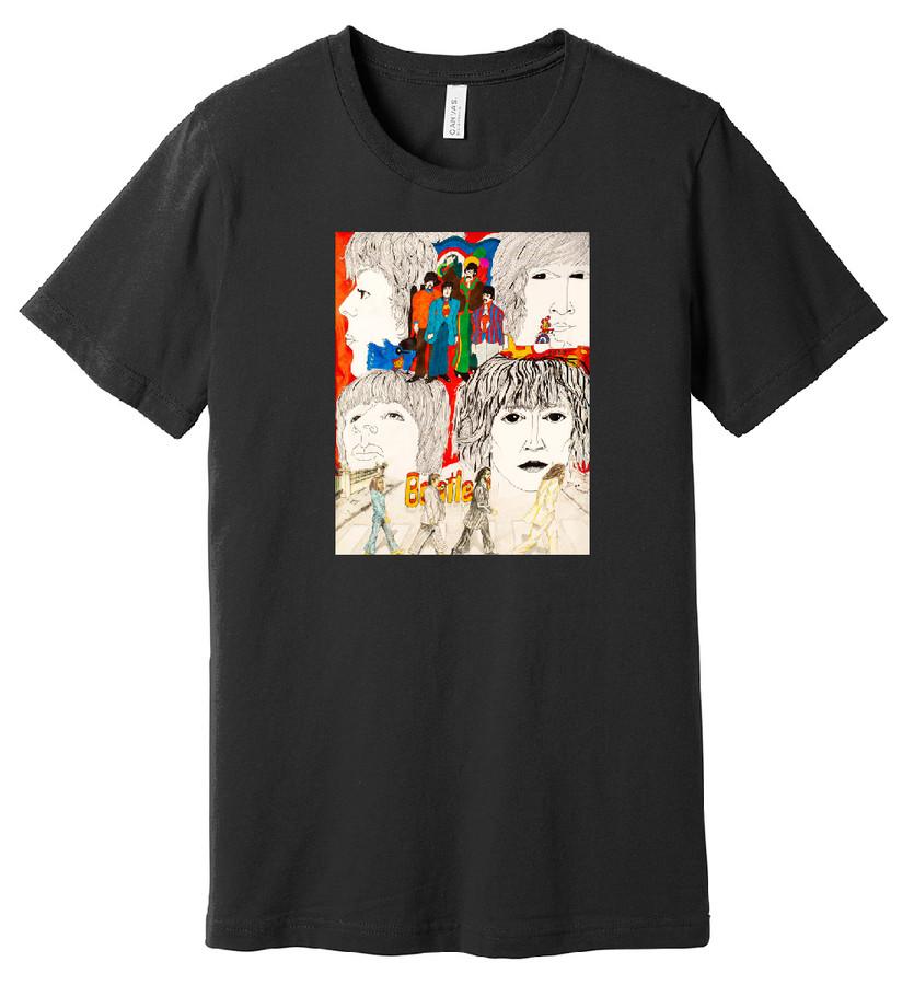 Beatles (Black) – Hand Drawn Artwork - 100% Ringspun Cotton T-Shirt