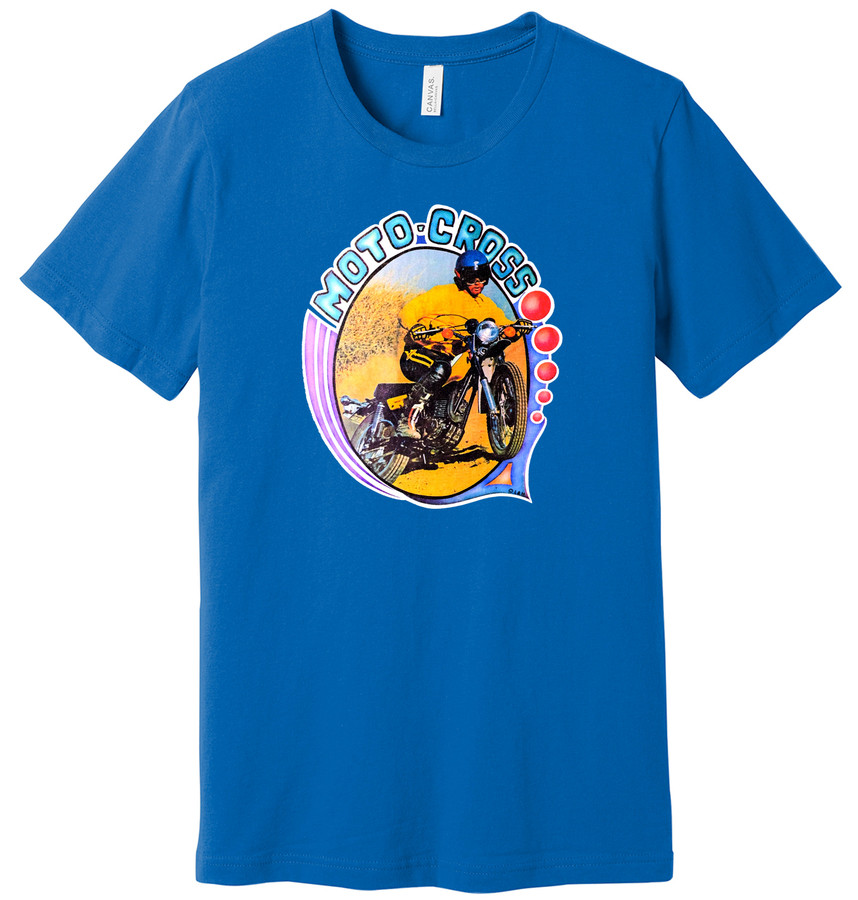 Vintage Motocross Dirt Bike – New Blue Shirt – 100% Ringspun Cotton T-Shirt