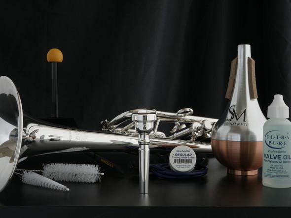 C Trumpet Upgrade Bundle! Includes Schagerl 'Caracas' C Trumpet, ACB MV3C, Soulo Straight Mute, Trumpet Stand, and Cleaning Kit!