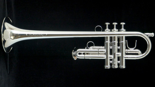 In Stock, the Beautiful Schagerl Eb 'Phoibe' Model Trumpet in Silver Plate