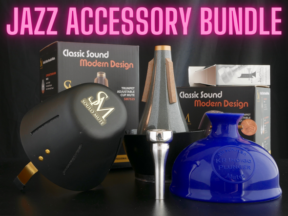 ACB Jazz Accessory Bundle! ACB FX Mouthpiece, KR Indigo Plunger, Soulo Bucket, and Soulo Cup Mute!