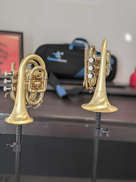 new for 2021!    Satin lacquer Small Bell ACB Doubler's Pocket Trumpet - perfect for travel!