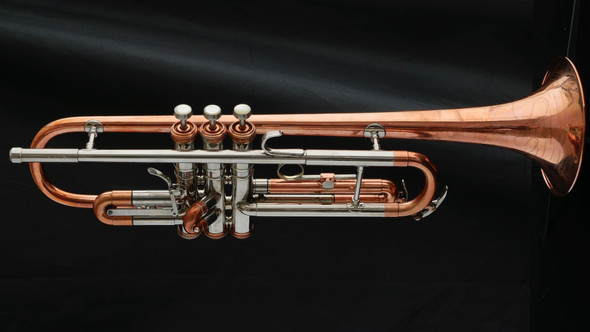 Conn Connstellation 28B Trumpet with Custom Nickel-Copper Finish and Risqué Dancer Engraving