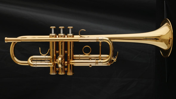 Adams C1-XL-2R Trumpet in Gold Lacquer with Hidden Reverse Leadpipe!