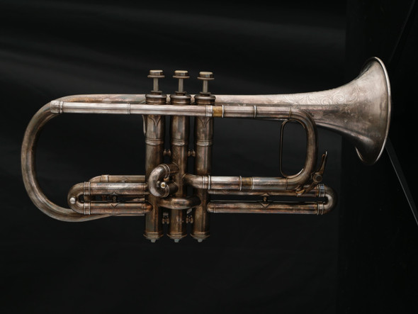 Vintage 1906 Conn Perfected Connqueror Cornet in Silver Plate with Gold Wash Bell!