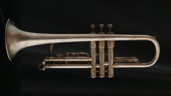 Vintage York Trumpet Model Cornet in Satin Silver with Gold Wash Bell!
