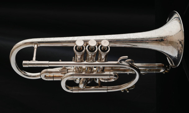 Pre-Owned D.E.G. Signature Cornet in Silver Plate with Engraved Bell!