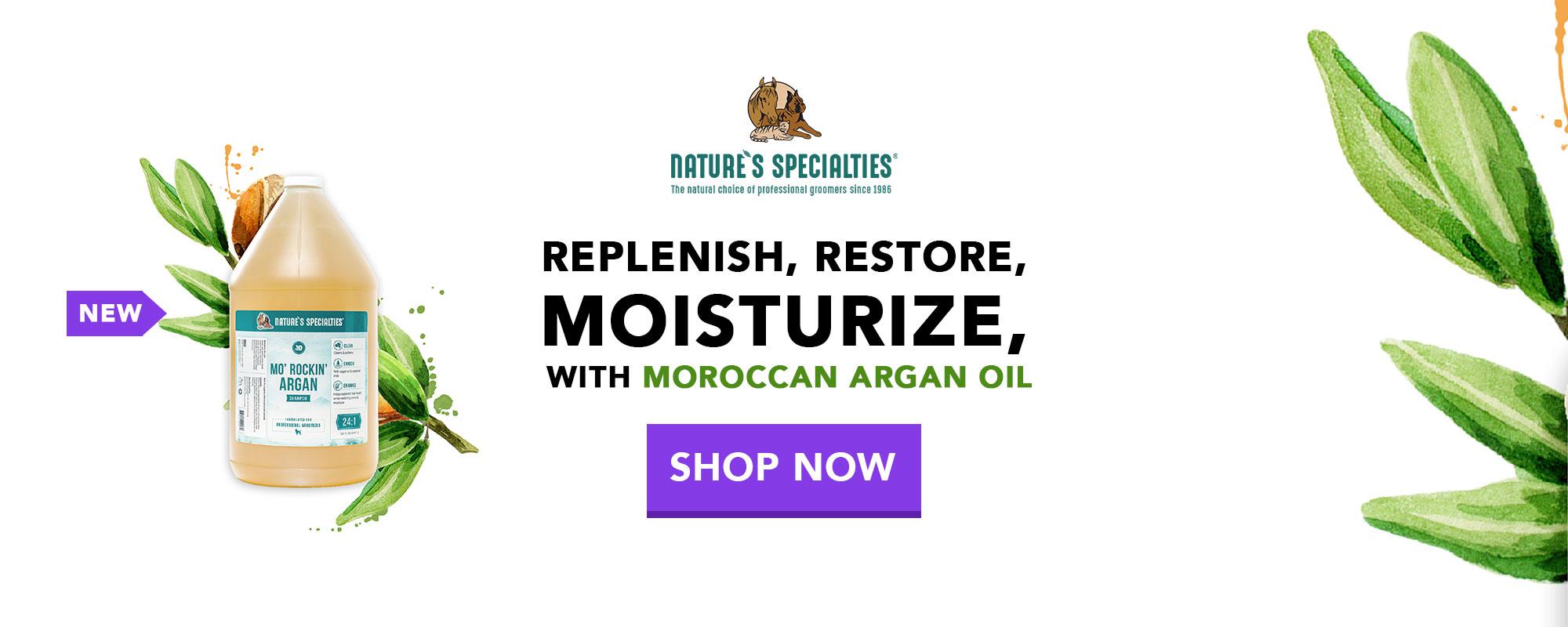 New Mo Rockin' Argan Shampoo from Nature's Specailties - replenish, restore & moisturize