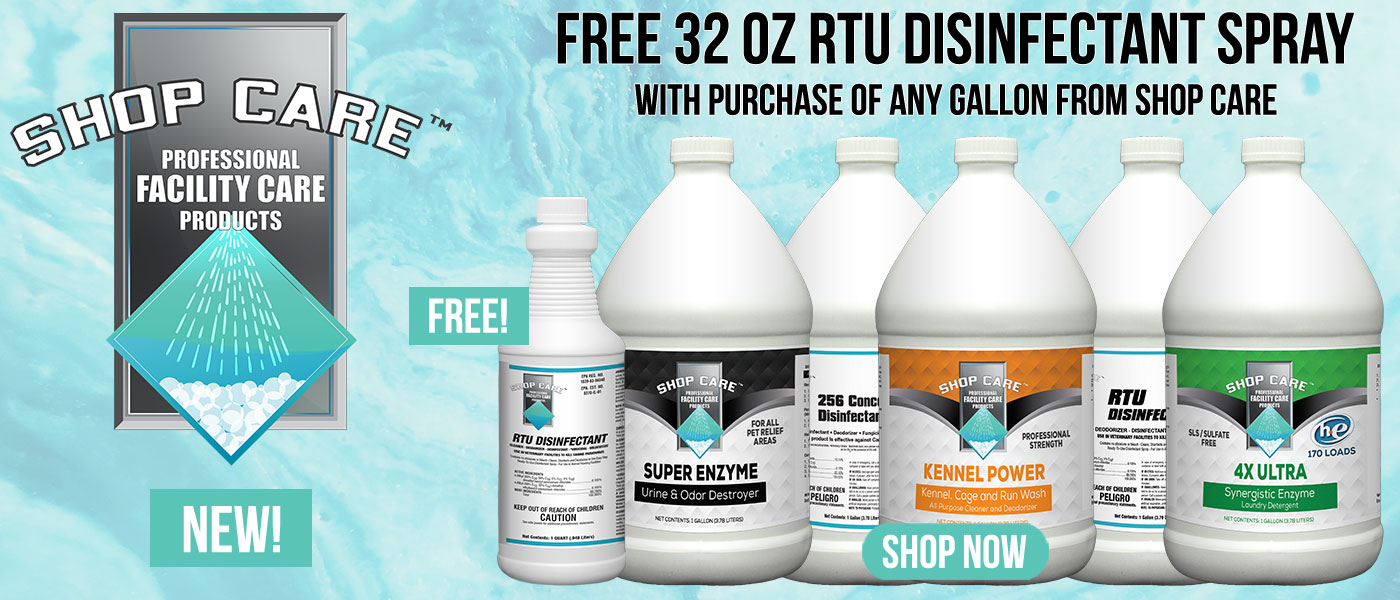 Get free 32oz rtu disinfectant spray with any gallon purchase from shopcare