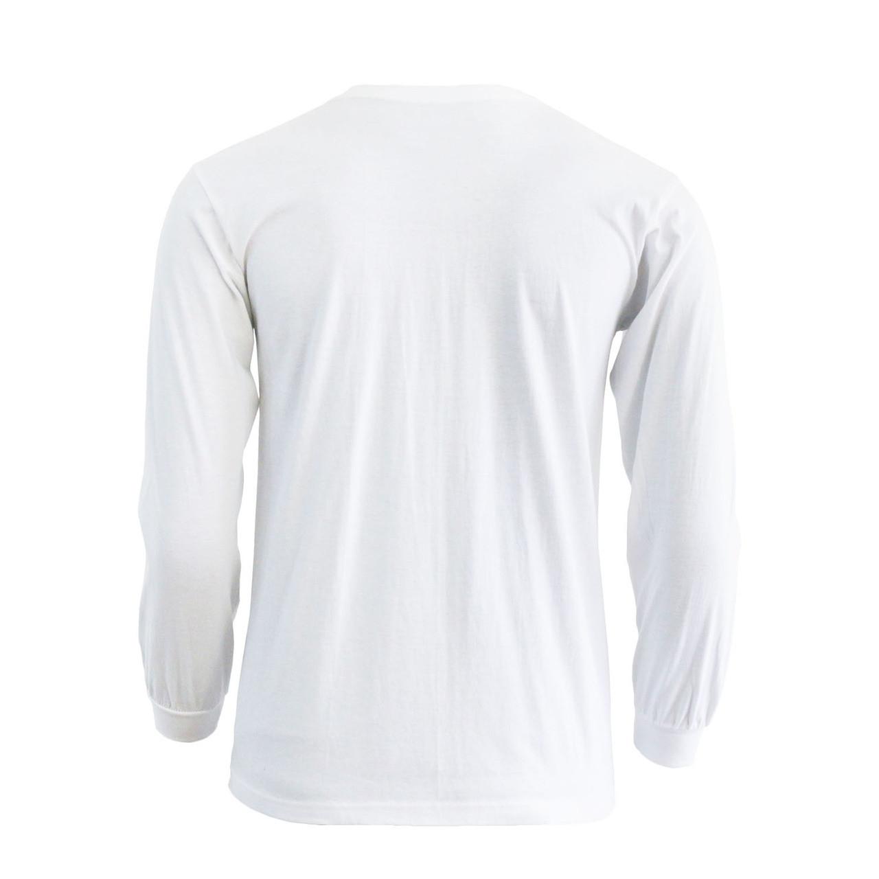 56e5d0528c23 Bcpolo White Round T-shirt Crew Neck long sleeves Cotton T-Shirt