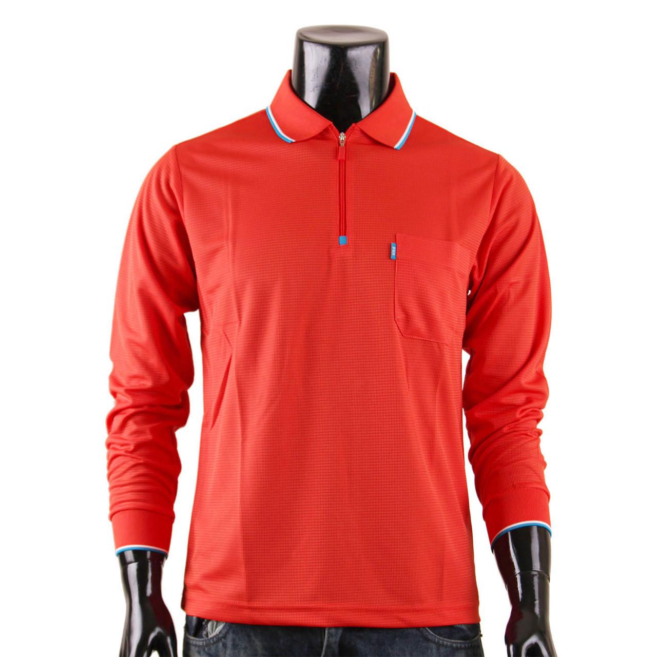 2425a9b7 Men's Zip Polo Shirt Plain Zip Polo Shirt Long Sleeves DRI FIT Scarlet Zip  Polo shirt