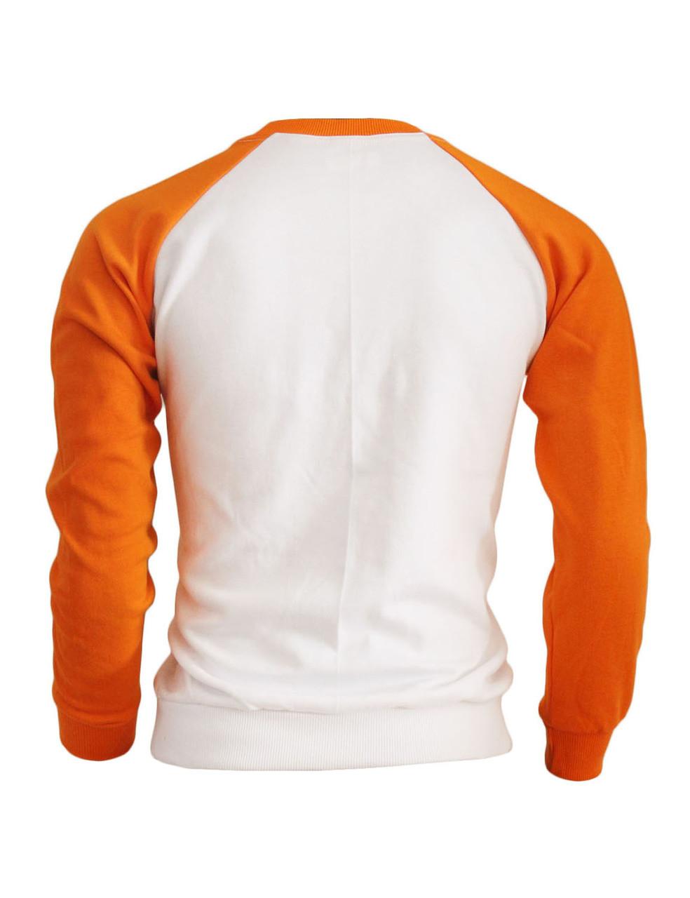 80749586 BCPOLO Men's Casual raglan 2 tone color t-shirt sportswear fashion crew  neck cotton shirt.-orange ...