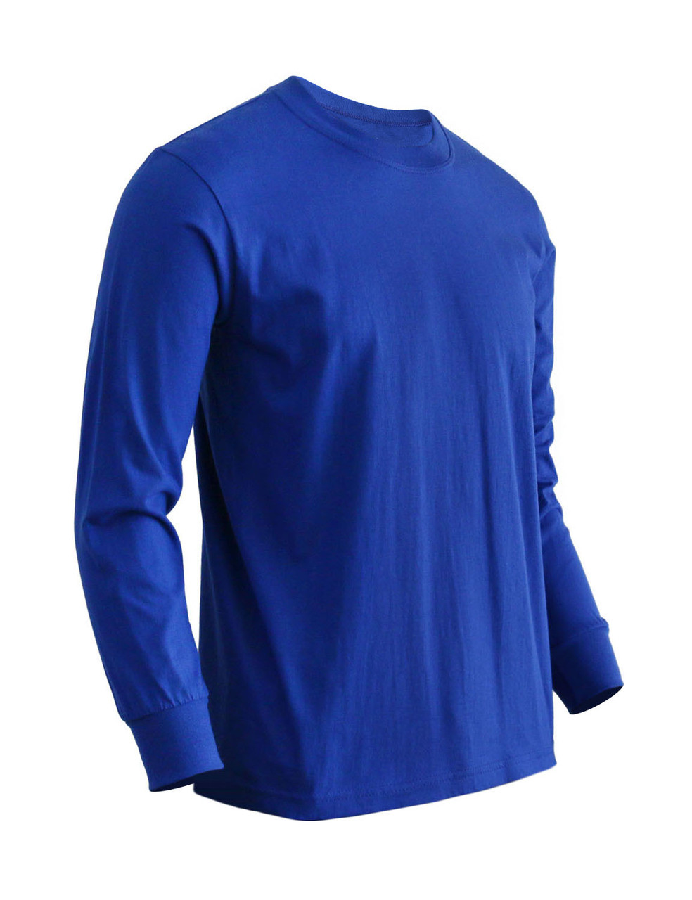 6a82d62c7f4a Basic Cobalt Blue Crew Neckline Long Sleeves Cotton T-Shirt