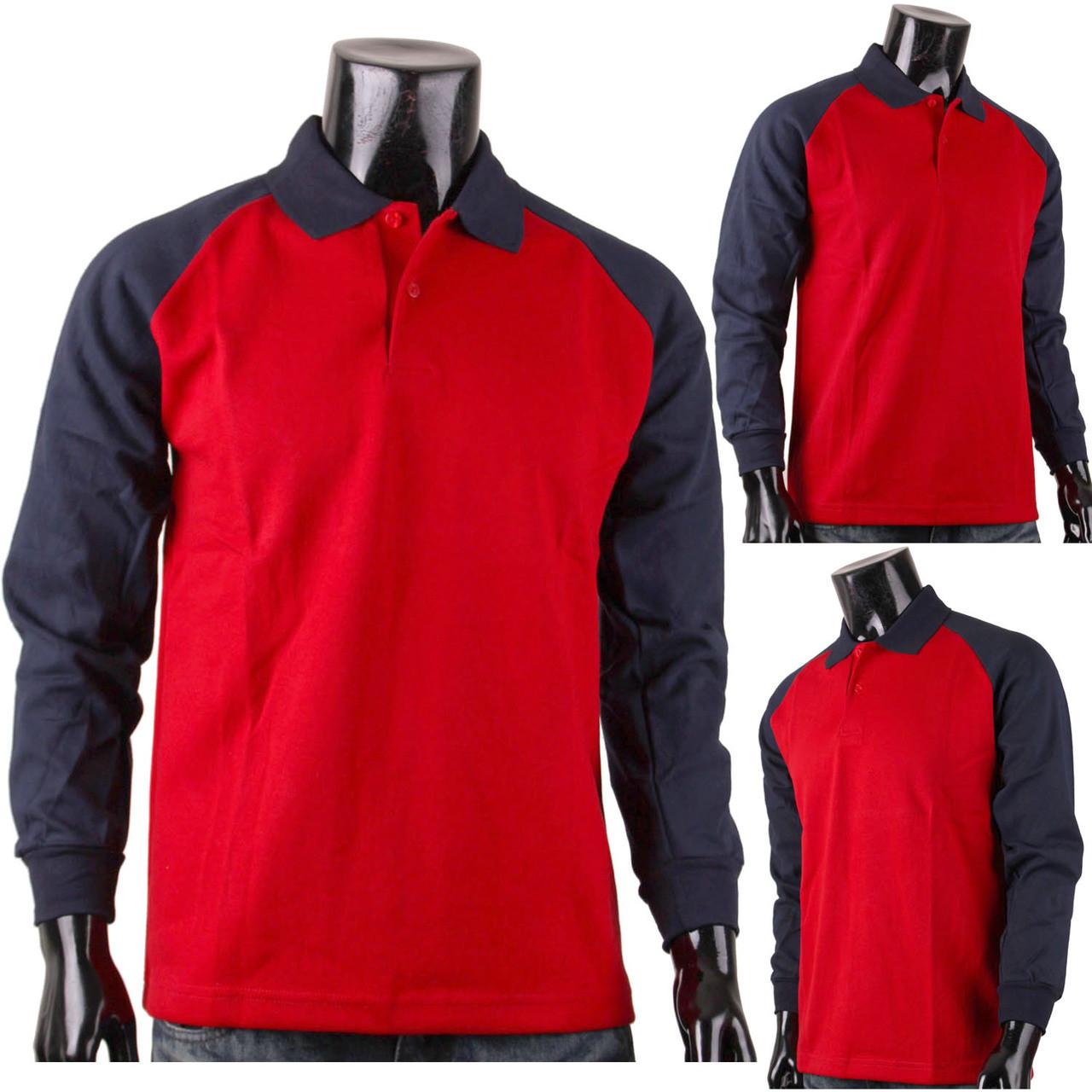 Classic Cotton Shirt Raglan Long Sleeve Red Polo Shirt