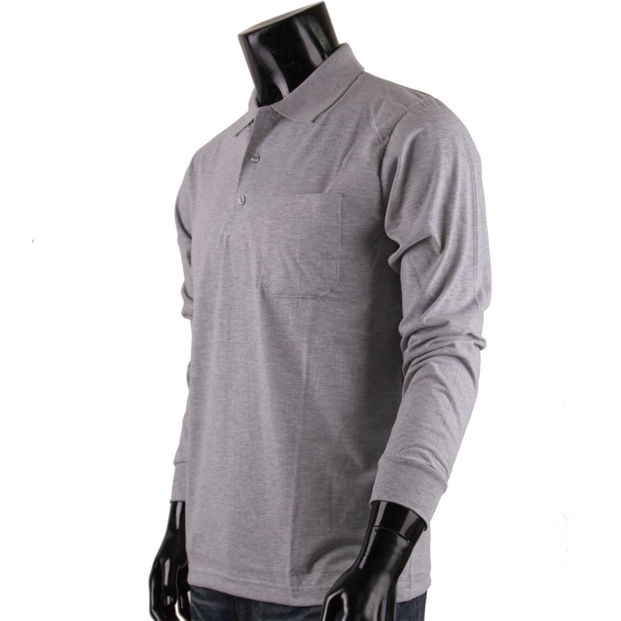 Bcpolo Mens Long Sleeves Cotton Solid Polo Shirtgrey