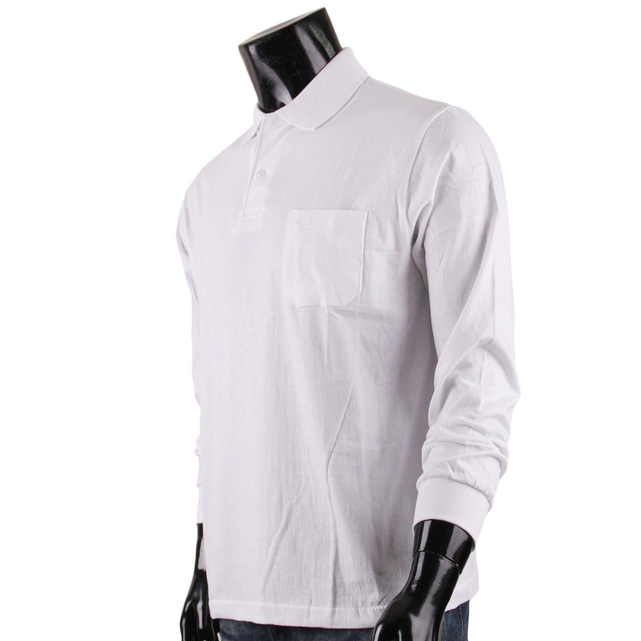 Bcpolo Mens Long Sleeves Cotton Solid Polo Shirtwhite