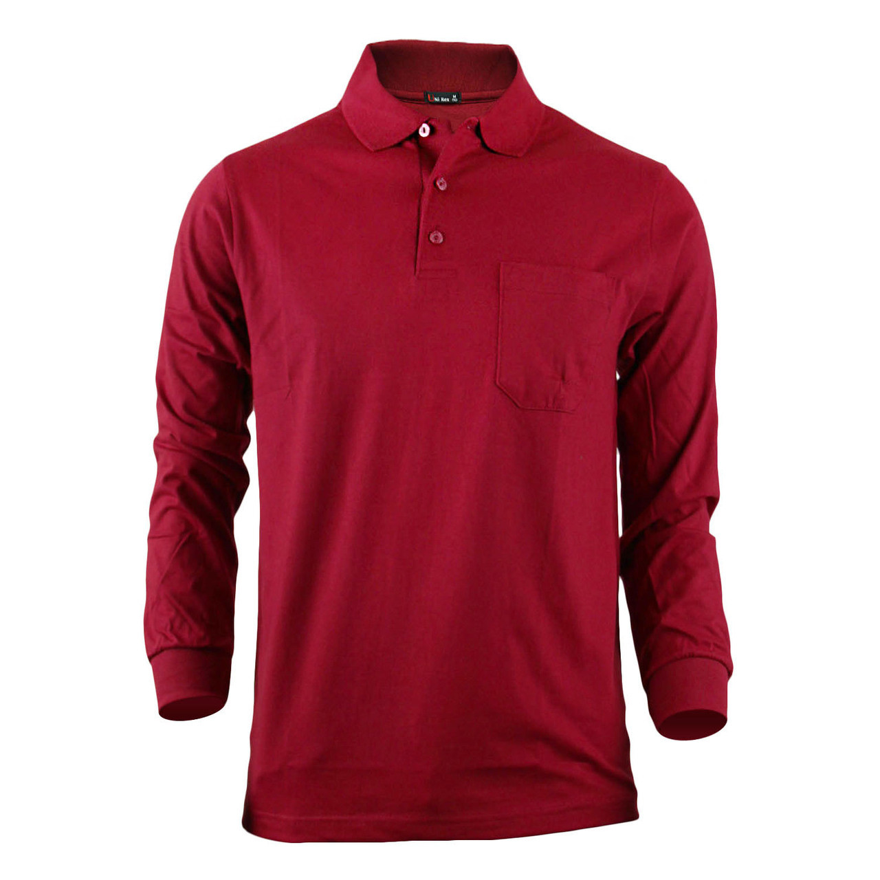 3e188ac77ac12 Bcpolo Men s Long Sleeves Cotton Solid Polo Shirt Dark Red