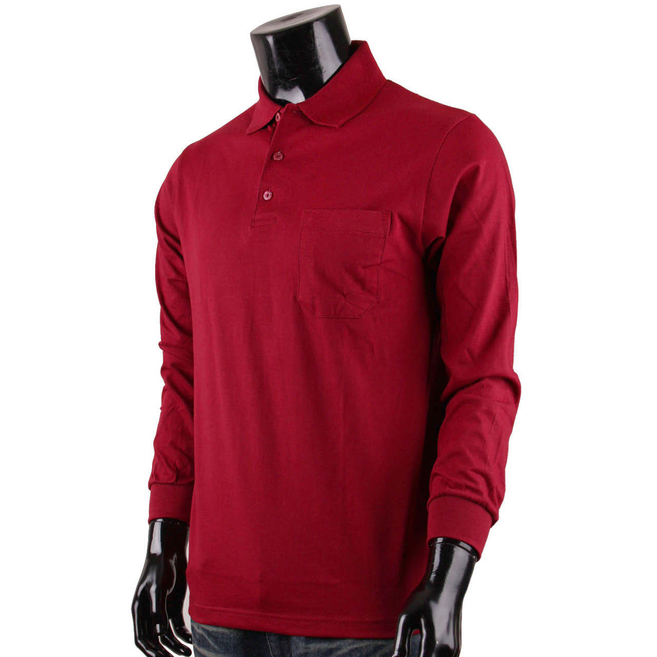Bcpolo Mens Long Sleeves Cotton Solid Polo Shirtdark Red