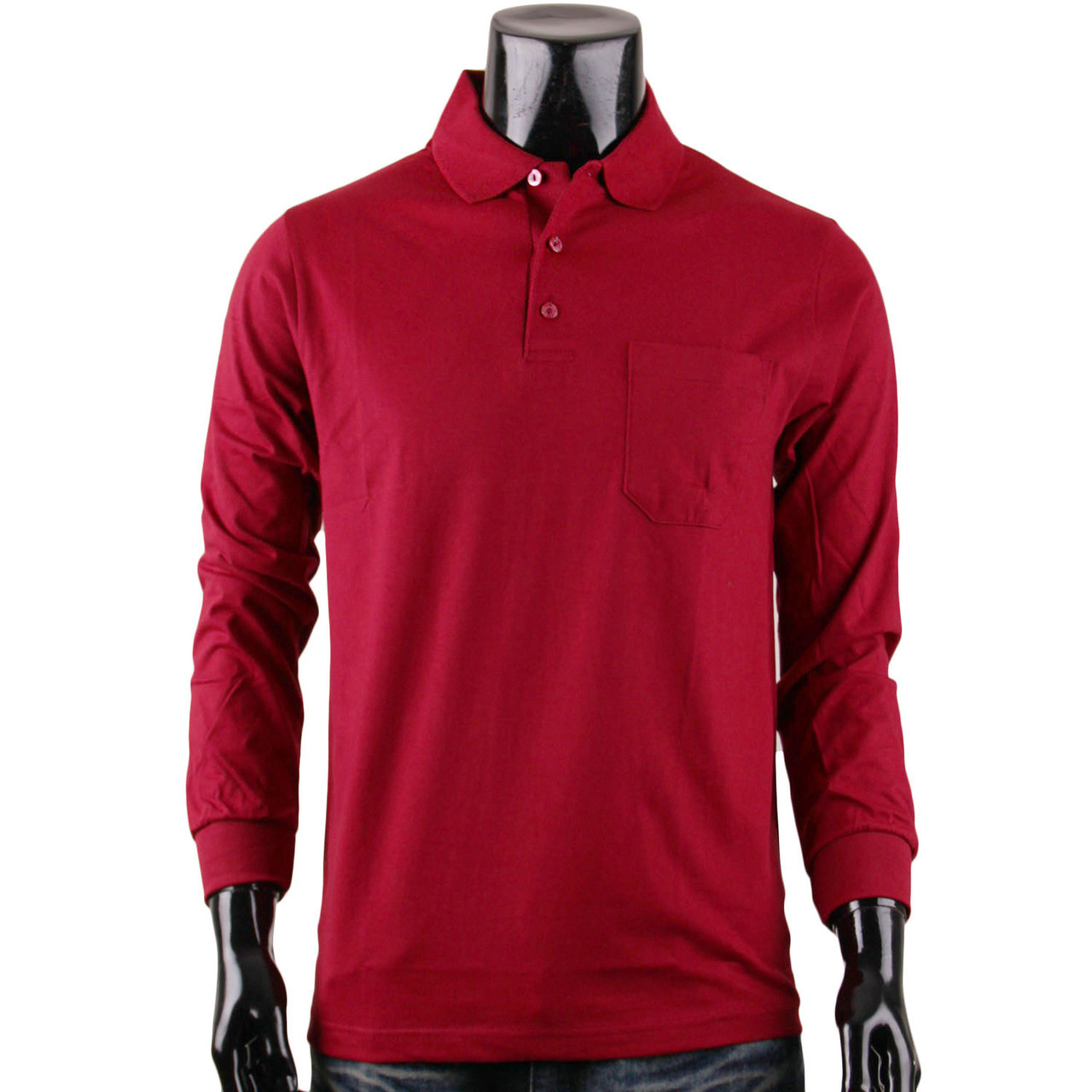 8bd33021 Bcpolo Men's Long Sleeves Cotton Solid Polo Shirt_Dark Red