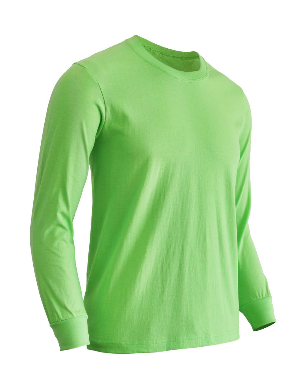 a90c0aaed Basic round neck style cotton T-shirt Crew neck long sleeves shirt-Light  green