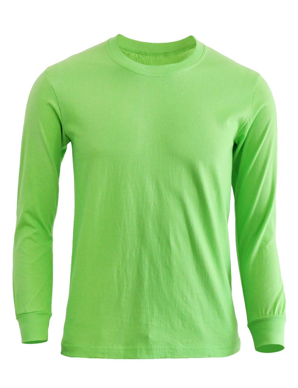 14064638b Basic round neck style cotton T-shirt Crew neck long sleeves shirt-Light  green