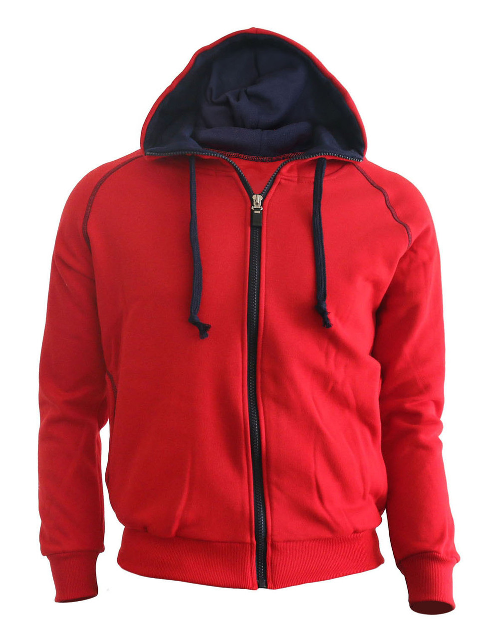 Casual warm sweat zip-Hoodie jumper of navy color hoodie zip-up jacket. (Red )