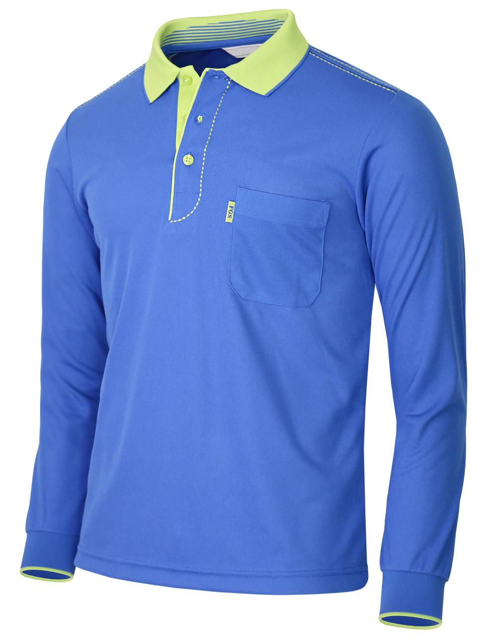 0085a11a ... Long Sleeve Dri Fit Stitch Point Polo Shirt-Unisex · cobalt-side