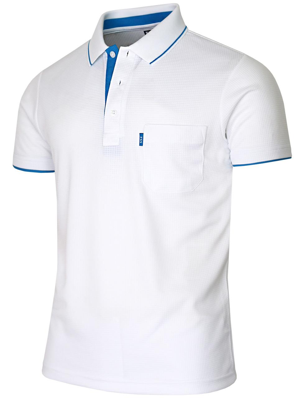 white polo shirt blue collar