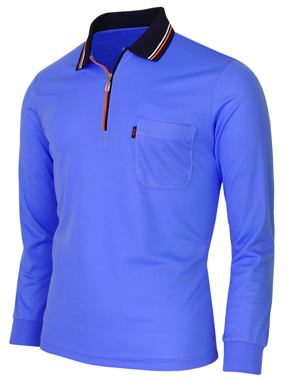 97c59ccc ... Long Sleeve Dri Fit Zip Polo Shirt-Unisex · blue-side