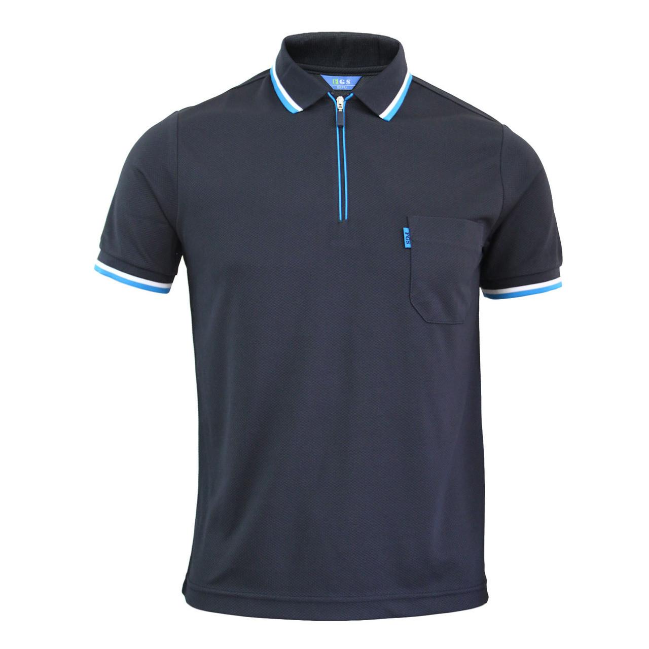 BCPOLO Zip Polo Shirt Athletic Long Sleeve Dri Fit Zip Polo-Sky-Blue-L Asia-2XL