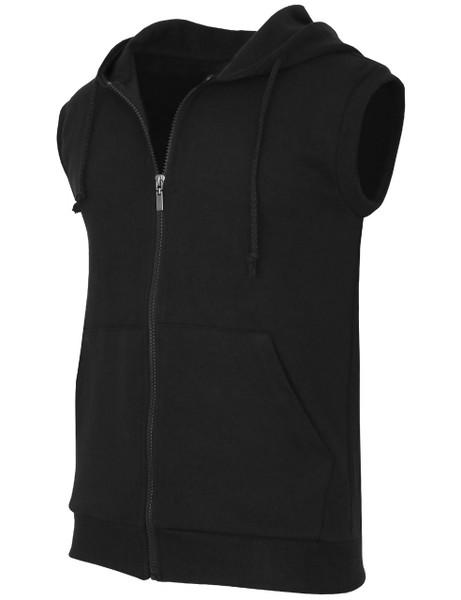 f5e208db9c449 Casual zip hoodie sleeveless hoodie jacket-black side