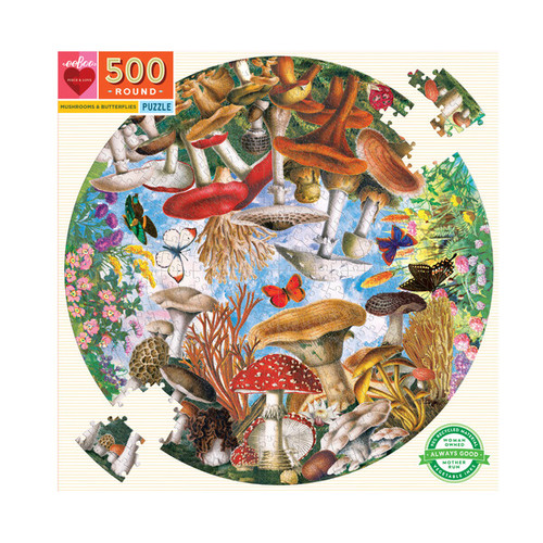 Mushrooms and Butterflies 500 Piece Round