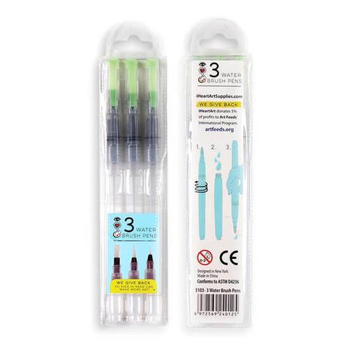 iHeartArt 3 Water Brush Pens Self-Moistening Portable Brush