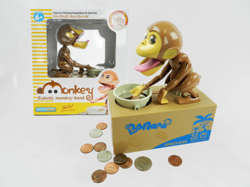 Wholesale Kid's Toy Coin Bank Monkey. Teach kids to save money with this educational toy!