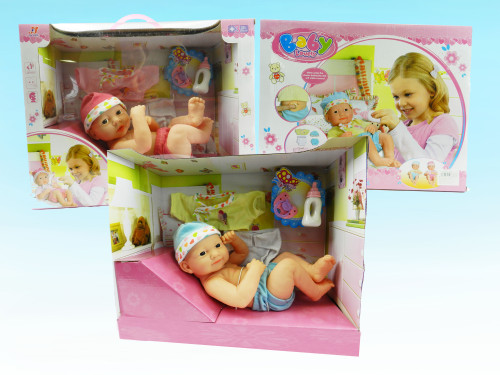 Wholesale Kid's Dress up baby doll toy. Really makes noise and comes with change of clothes and baby accessories. Excellent gift for little boys & girls!