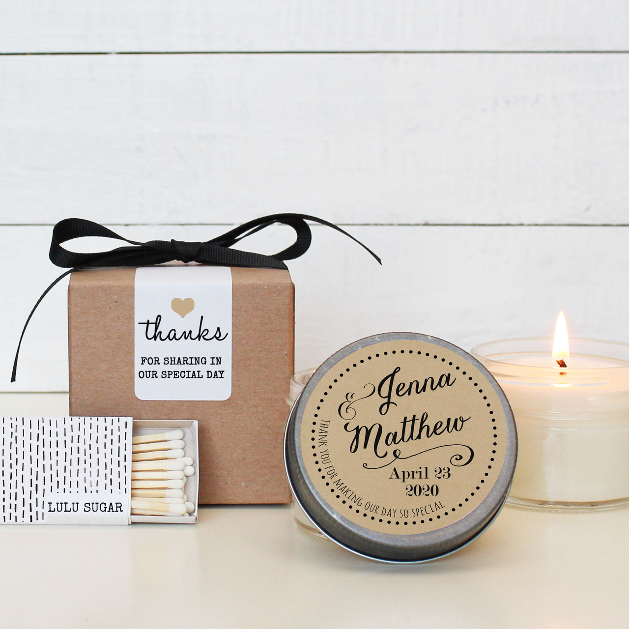 Candle wedding favors jenna label design