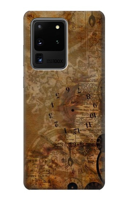 S3456 Vintage Paper Clock Steampunk Case For Samsung Galaxy S20 Ultra